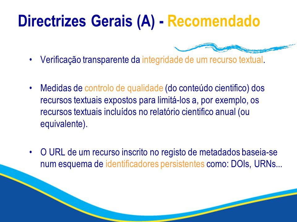 Directrizes Gerais (A) - Recomendado