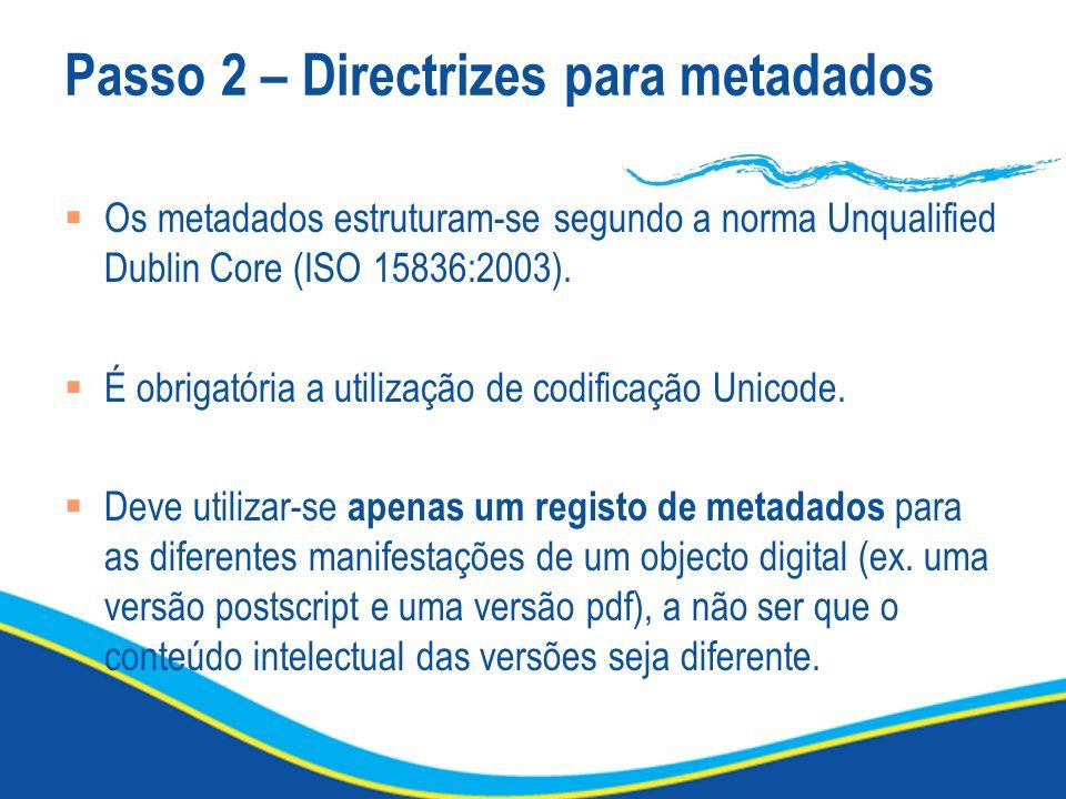 Passo 2 – Directrizes para metadados