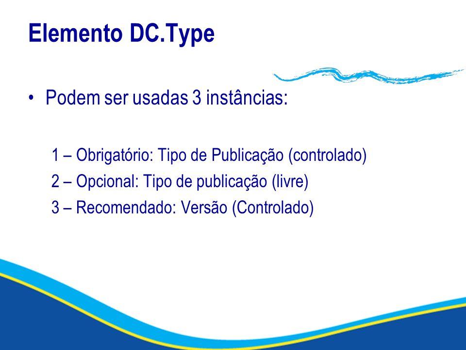 Elemento DC.Type Podem ser usadas 3 instâncias: