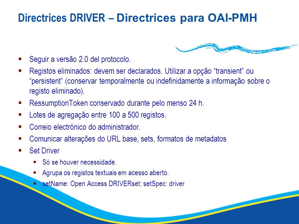 Directrices DRIVER – Directrices para OAI-PMH