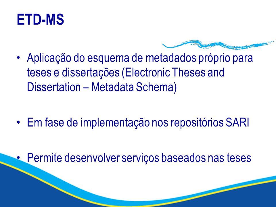 ETD-MS Aplicação do esquema de metadados próprio para teses e dissertações (Electronic Theses and Dissertation – Metadata Schema)