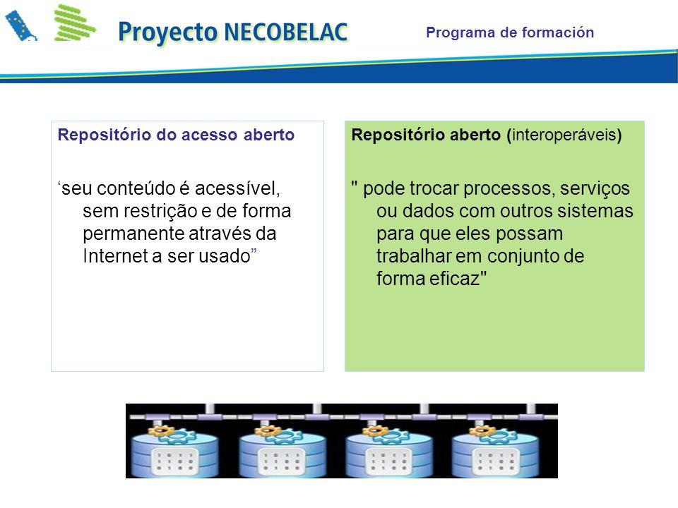 Programa de formación Repositório do acesso aberto. 'seu conteúdo é acessível, sem restrição e de forma permanente através da Internet a ser usado