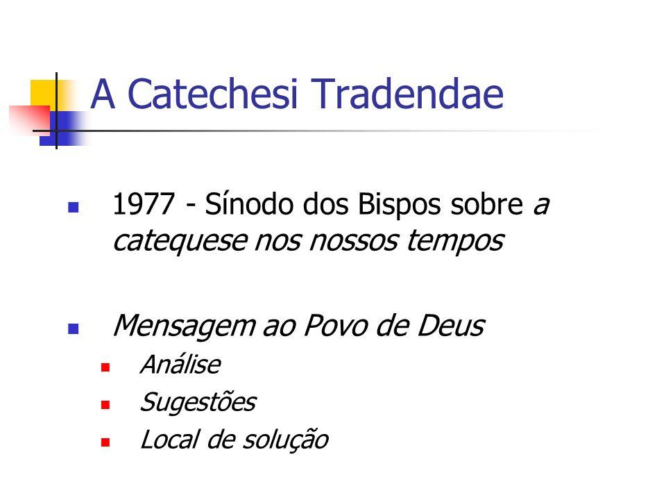 A Catechesi Tradendae 1977 - Sínodo dos Bispos sobre a catequese nos nossos tempos. Mensagem ao Povo de Deus.