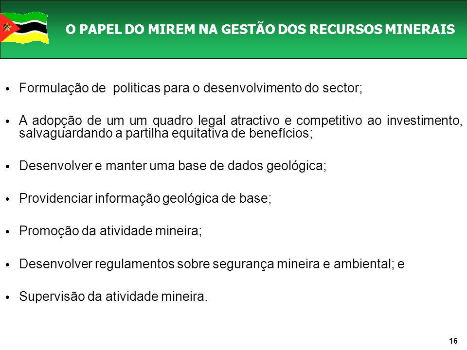 O PAPEL DO MIREM NA GESTÃO DOS RECURSOS MINERAIS