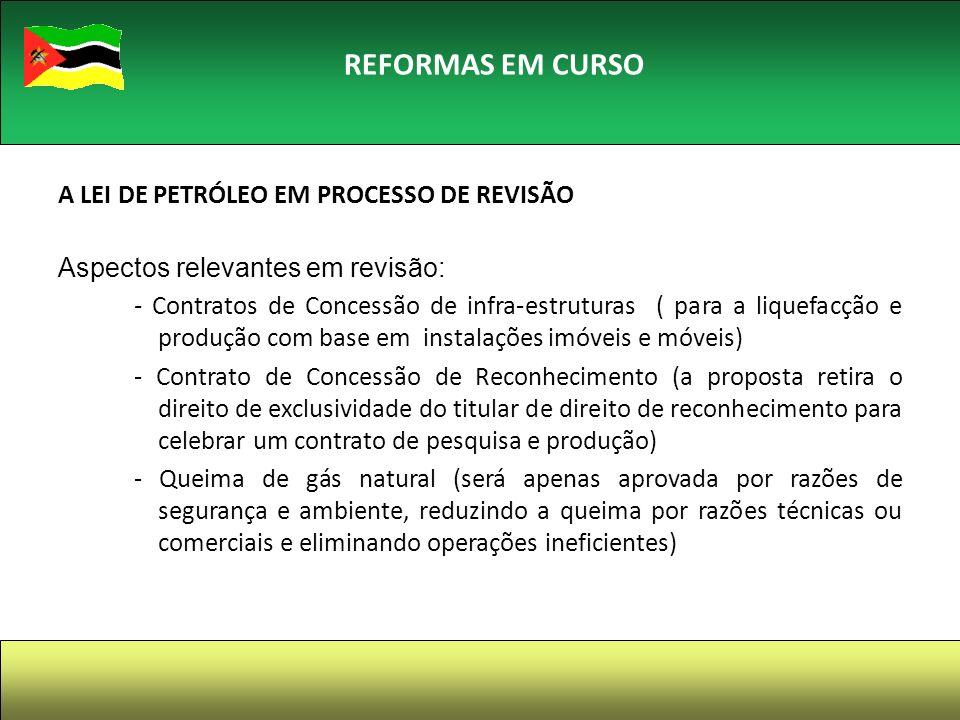REFORMAS EM CURSO A LEI DE PETRÓLEO EM PROCESSO DE REVISÃO