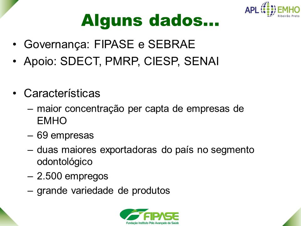 Alguns dados... Governança: FIPASE e SEBRAE