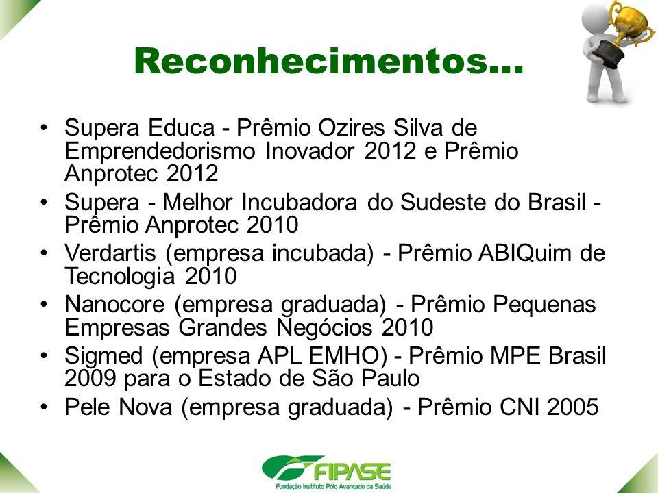 Reconhecimentos... Supera Educa - Prêmio Ozires Silva de Emprendedorismo Inovador 2012 e Prêmio Anprotec 2012.