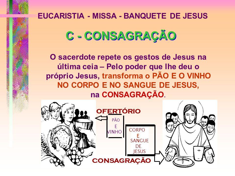 C - CONSAGRAÇÃO EUCARISTIA - MISSA - BANQUETE DE JESUS