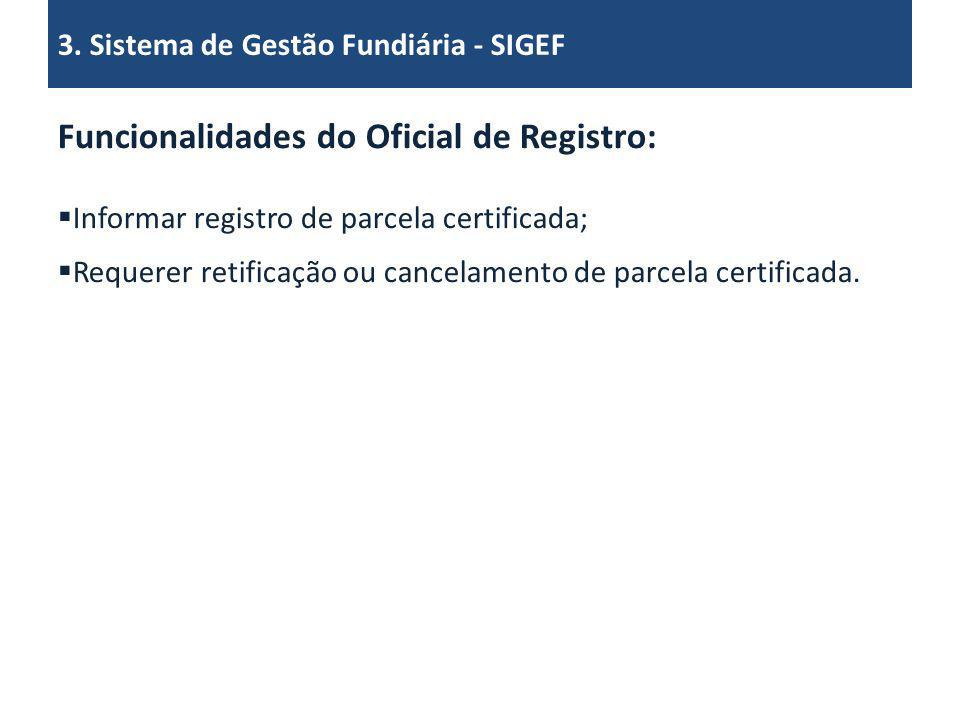Funcionalidades do Oficial de Registro: