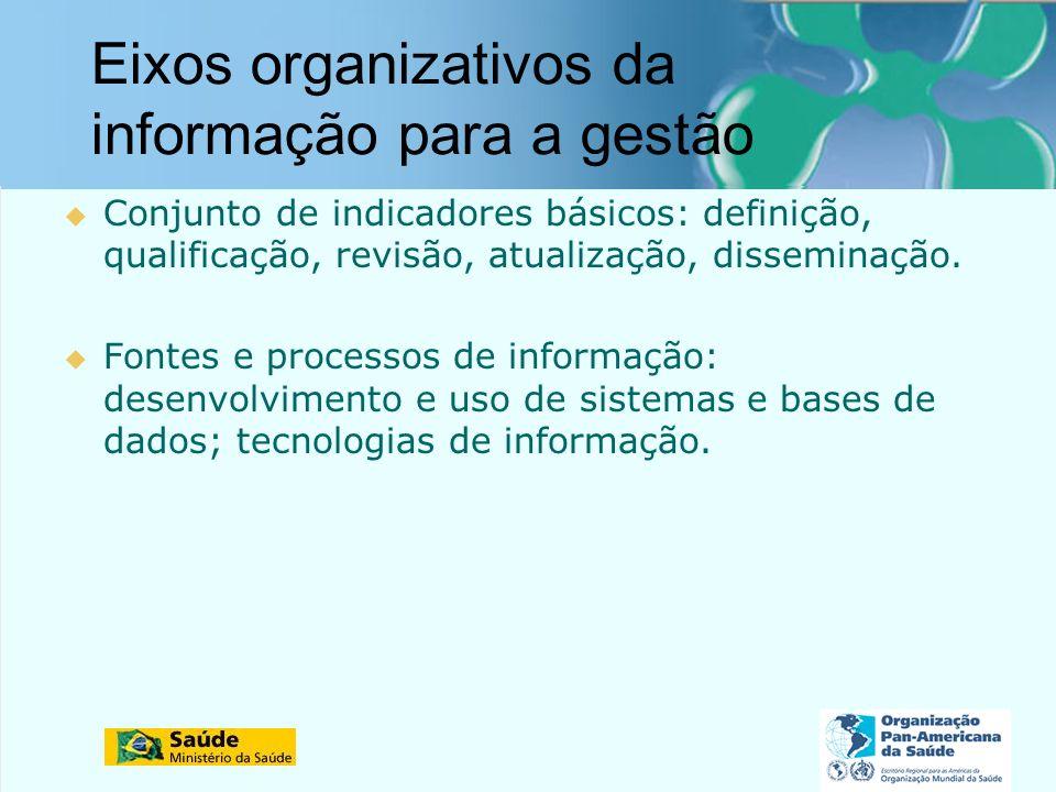 Eixos organizativos da informação para a gestão