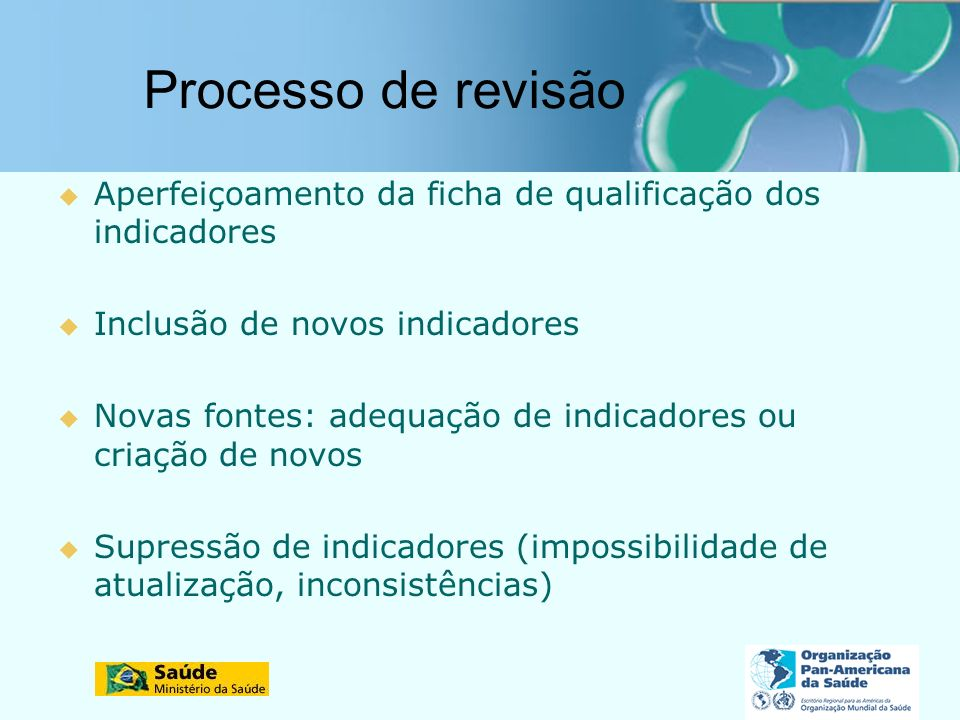 Processo de revisão Aperfeiçoamento da ficha de qualificação dos indicadores. Inclusão de novos indicadores.