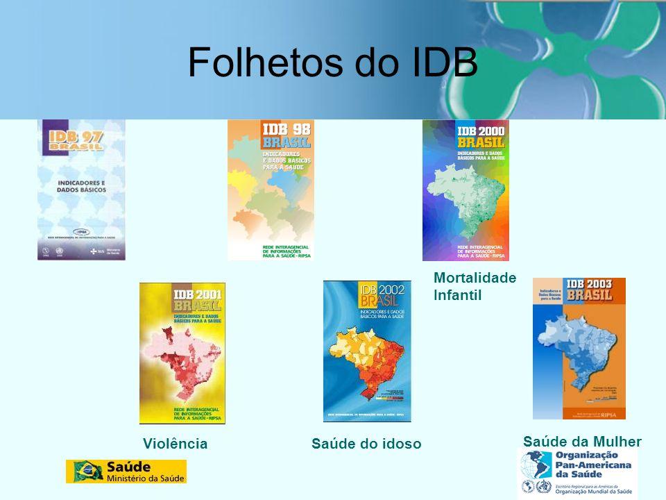 Folhetos do IDB Mortalidade Infantil Violência Saúde do idoso