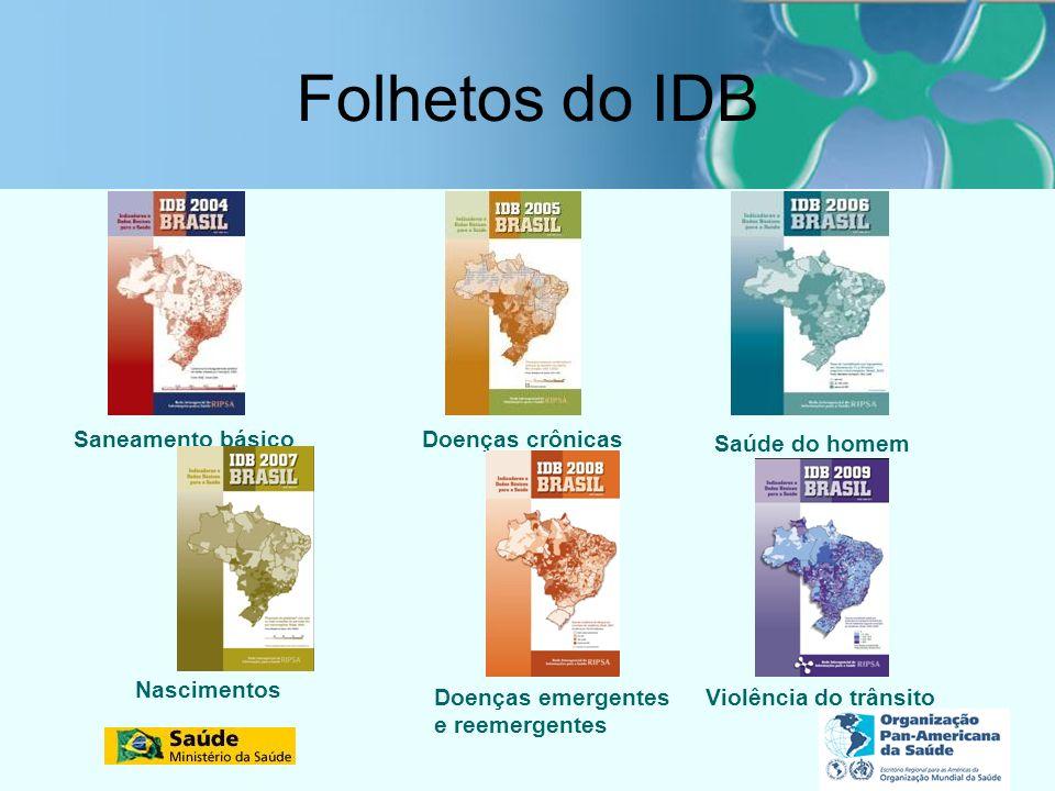 Folhetos do IDB Saneamento básico Doenças crônicas Saúde do homem