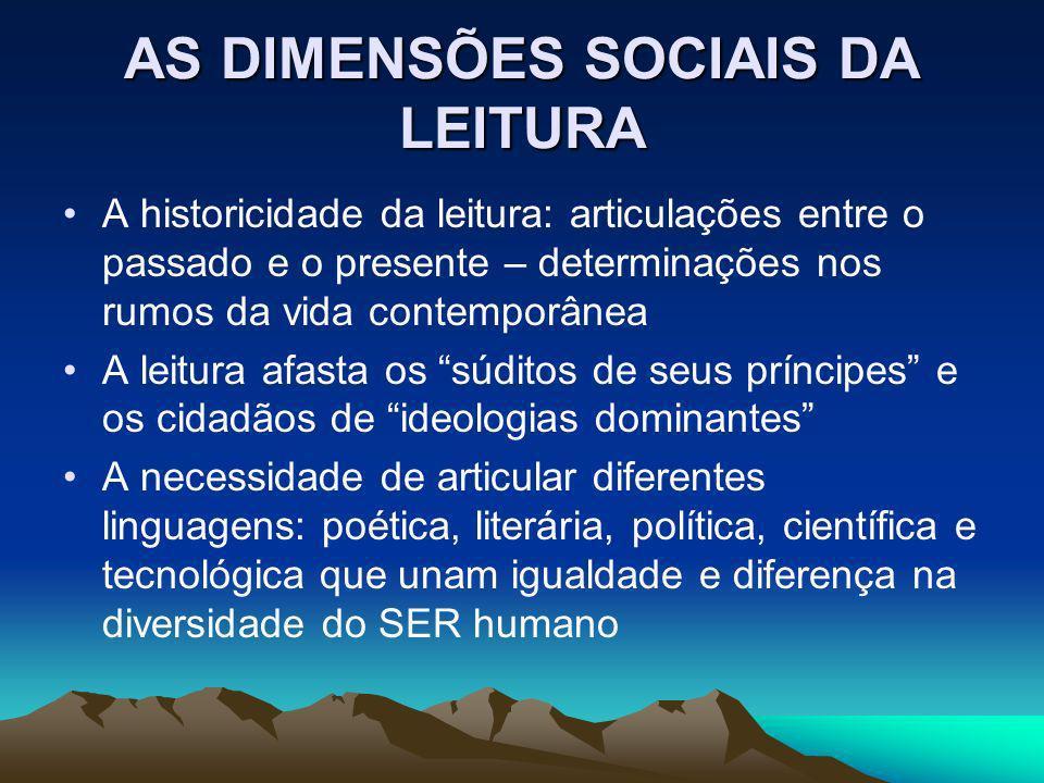 AS DIMENSÕES SOCIAIS DA LEITURA