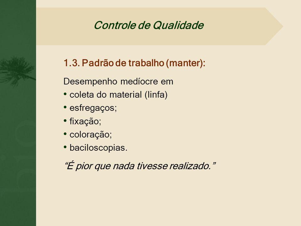 Controle de Qualidade 1.3. Padrão de trabalho (manter):