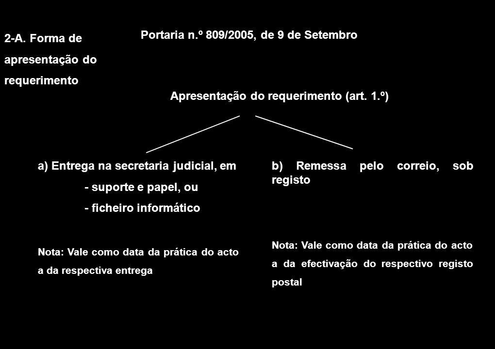 2-A. Forma de apresentação do requerimento