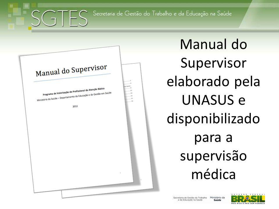 Manual do Supervisor elaborado pela UNASUS e disponibilizado para a supervisão médica