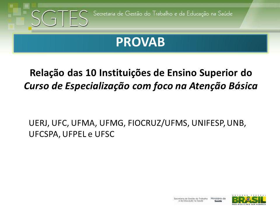 PROVAB Relação das 10 Instituições de Ensino Superior do Curso de Especialização com foco na Atenção Básica.