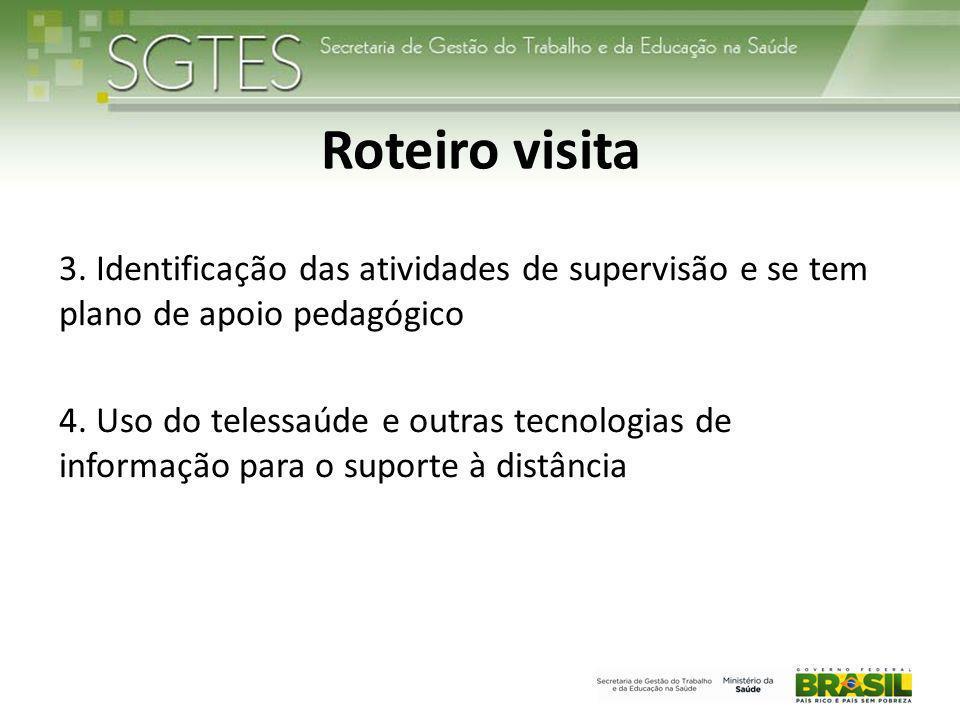 Roteiro visita 3. Identificação das atividades de supervisão e se tem plano de apoio pedagógico.