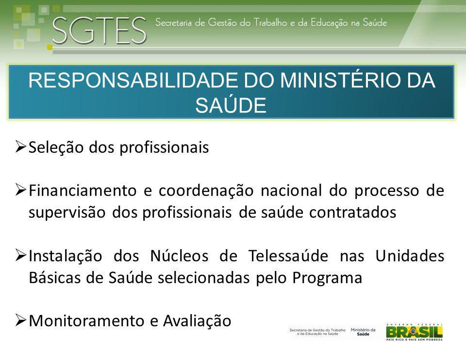 RESPONSABILIDADE DO MINISTÉRIO DA SAÚDE