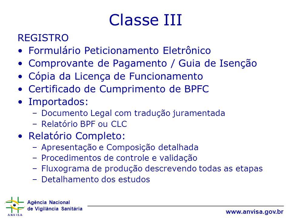 Classe III REGISTRO Formulário Peticionamento Eletrônico