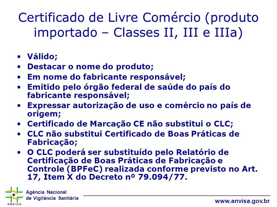 Certificado de Livre Comércio (produto importado – Classes II, III e IIIa)