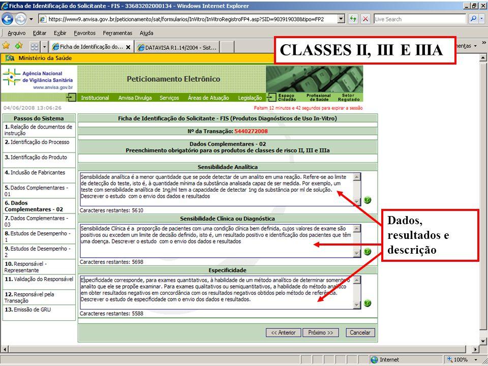 CLASSES II, III E IIIA Dados, resultados e descrição