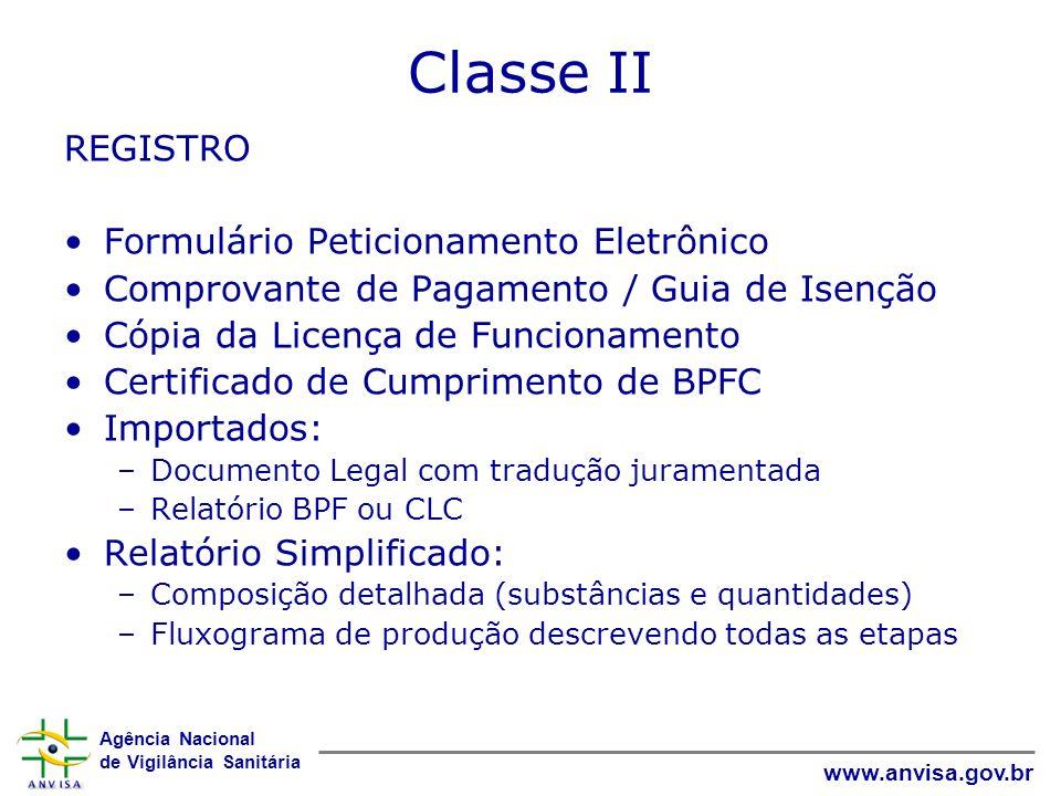 Classe II REGISTRO Formulário Peticionamento Eletrônico