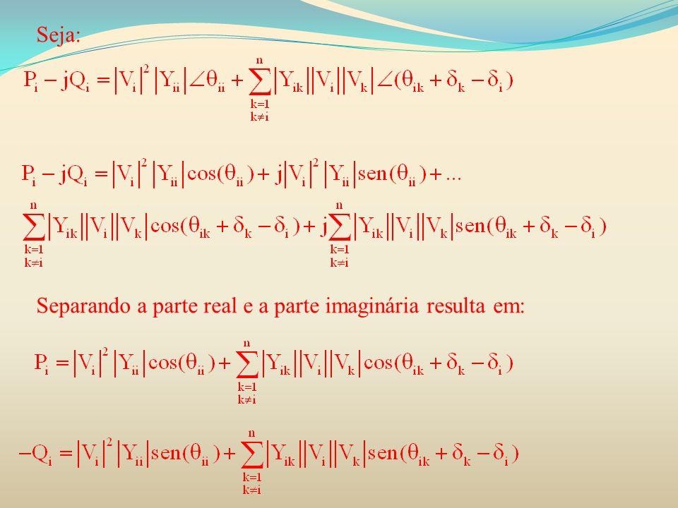 Seja: Separando a parte real e a parte imaginária resulta em: