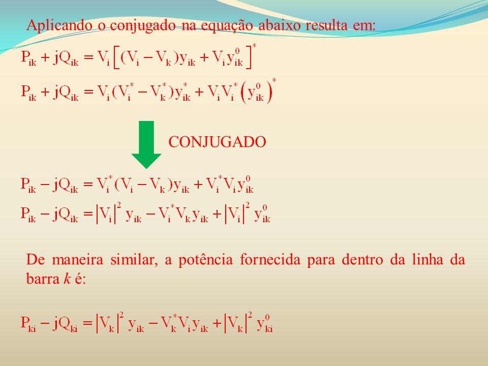 Aplicando o conjugado na equação abaixo resulta em: