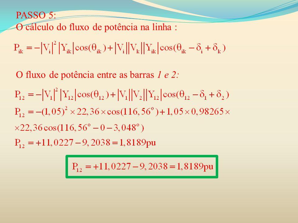 PASSO 5: O cálculo do fluxo de potência na linha : O fluxo de potência entre as barras 1 e 2: