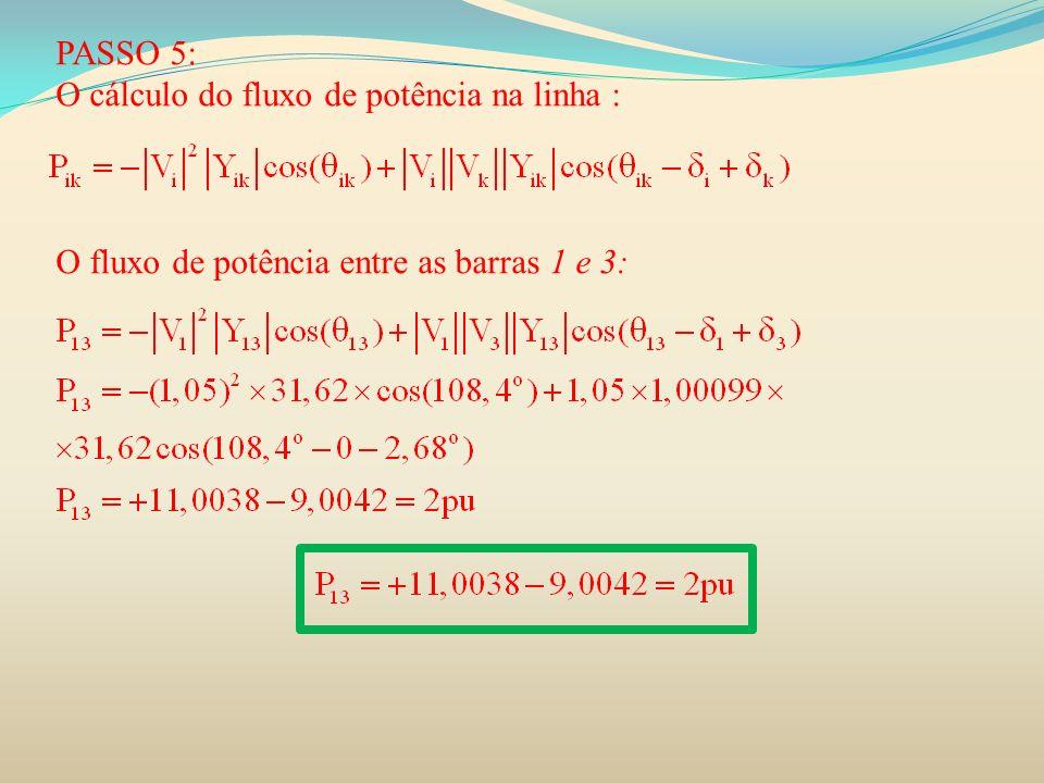 PASSO 5: O cálculo do fluxo de potência na linha : O fluxo de potência entre as barras 1 e 3: