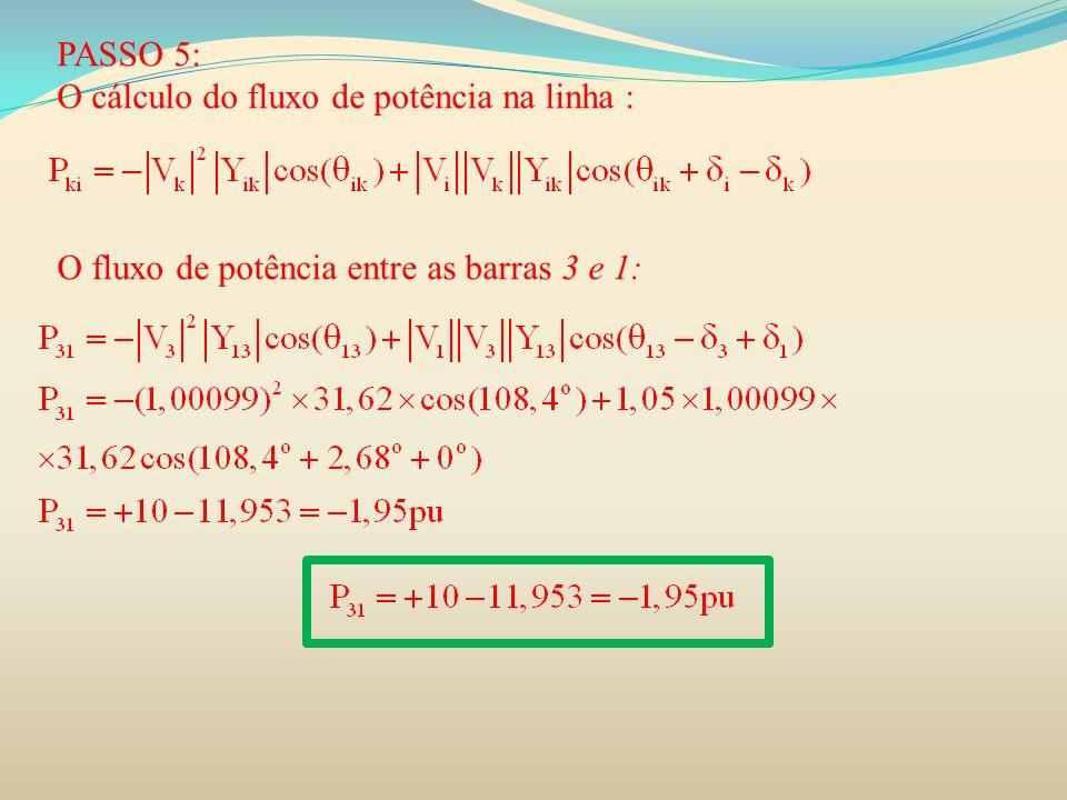 PASSO 5: O cálculo do fluxo de potência na linha : O fluxo de potência entre as barras 3 e 1: