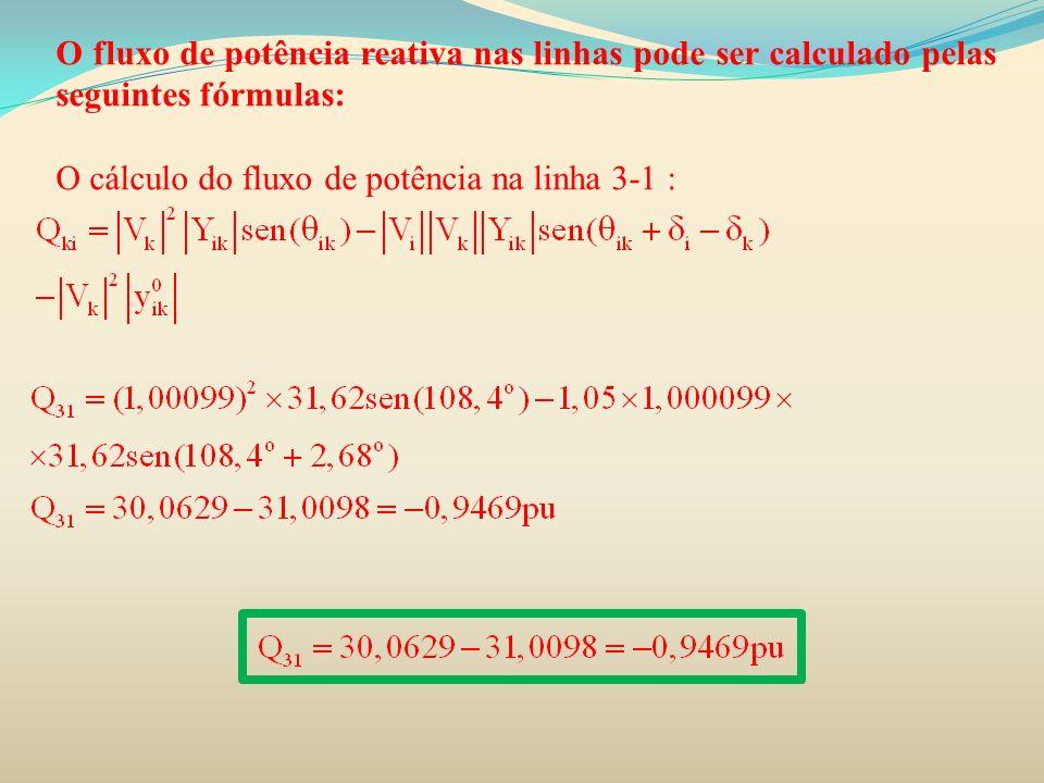 O fluxo de potência reativa nas linhas pode ser calculado pelas seguintes fórmulas: