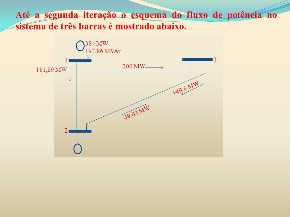 Até a segunda iteração o esquema do fluxo de potência no sistema de três barras é mostrado abaixo.