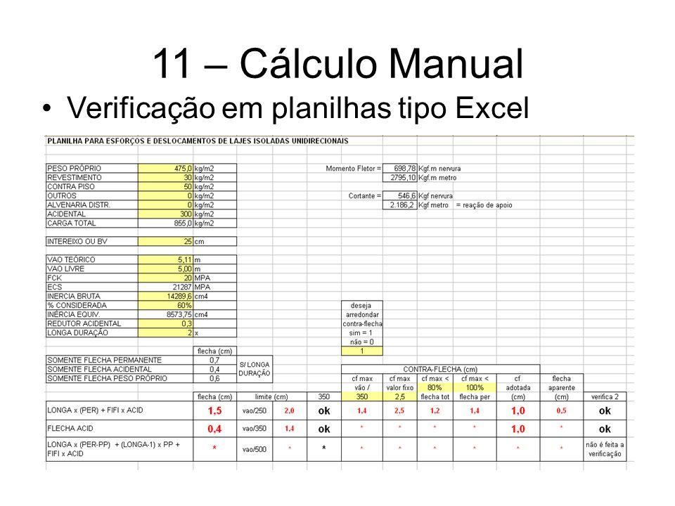 11 – Cálculo Manual Verificação em planilhas tipo Excel