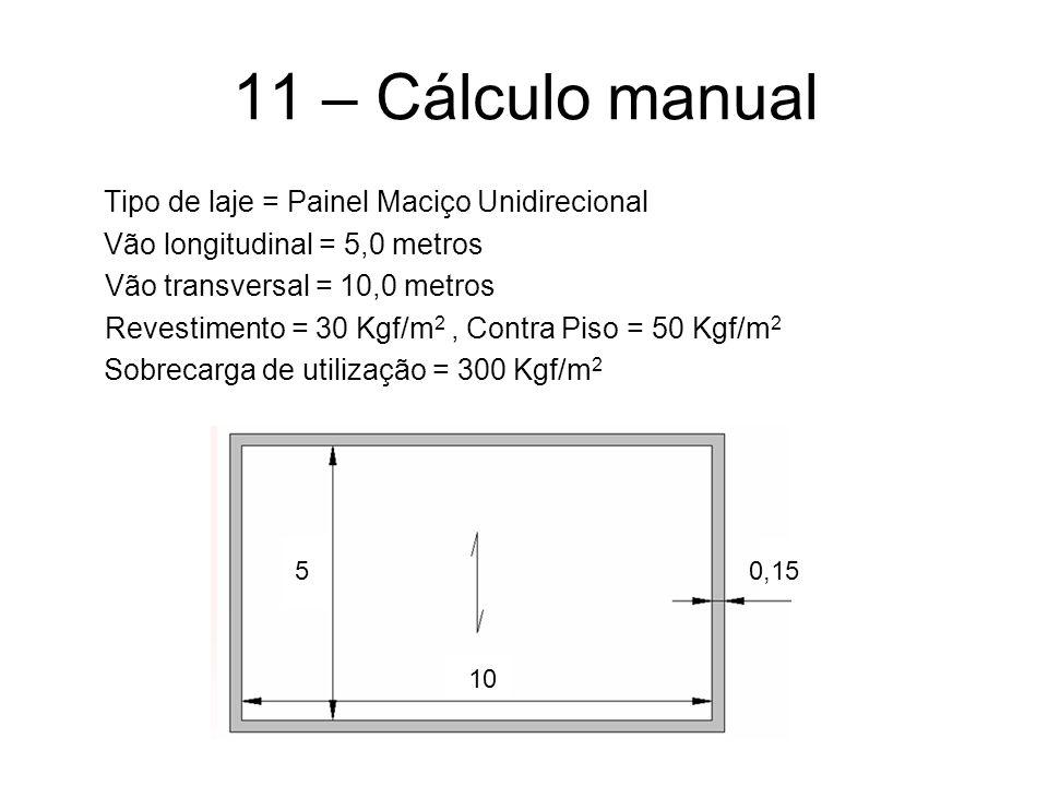 11 – Cálculo manual Tipo de laje = Painel Maciço Unidirecional