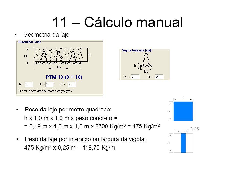 11 – Cálculo manual Geometria da laje: