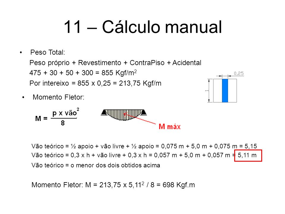 11 – Cálculo manual Peso Total: