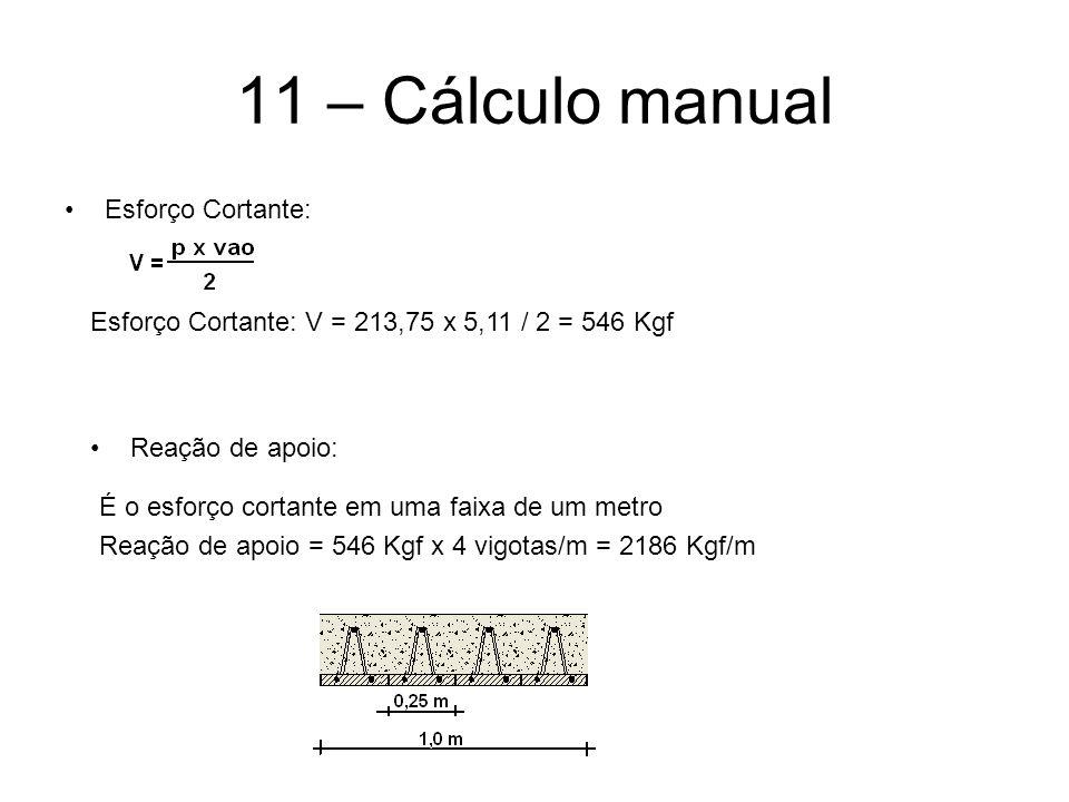 11 – Cálculo manual Esforço Cortante: