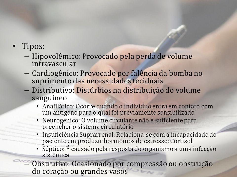 Tipos: Hipovolêmico: Provocado pela perda de volume intravascular