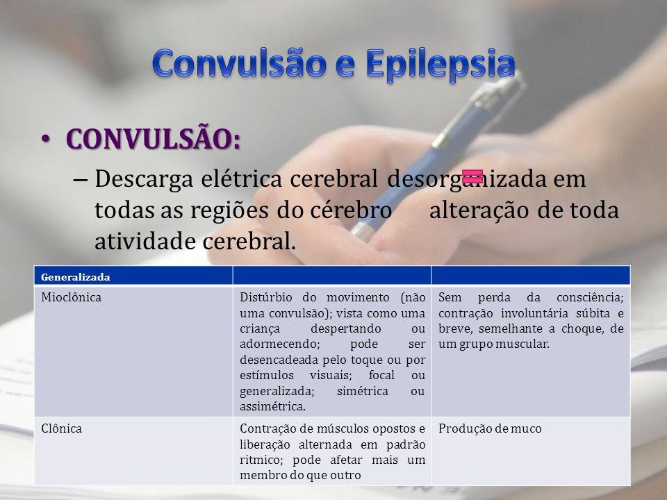 Convulsão e Epilepsia CONVULSÃO: TIPOS: