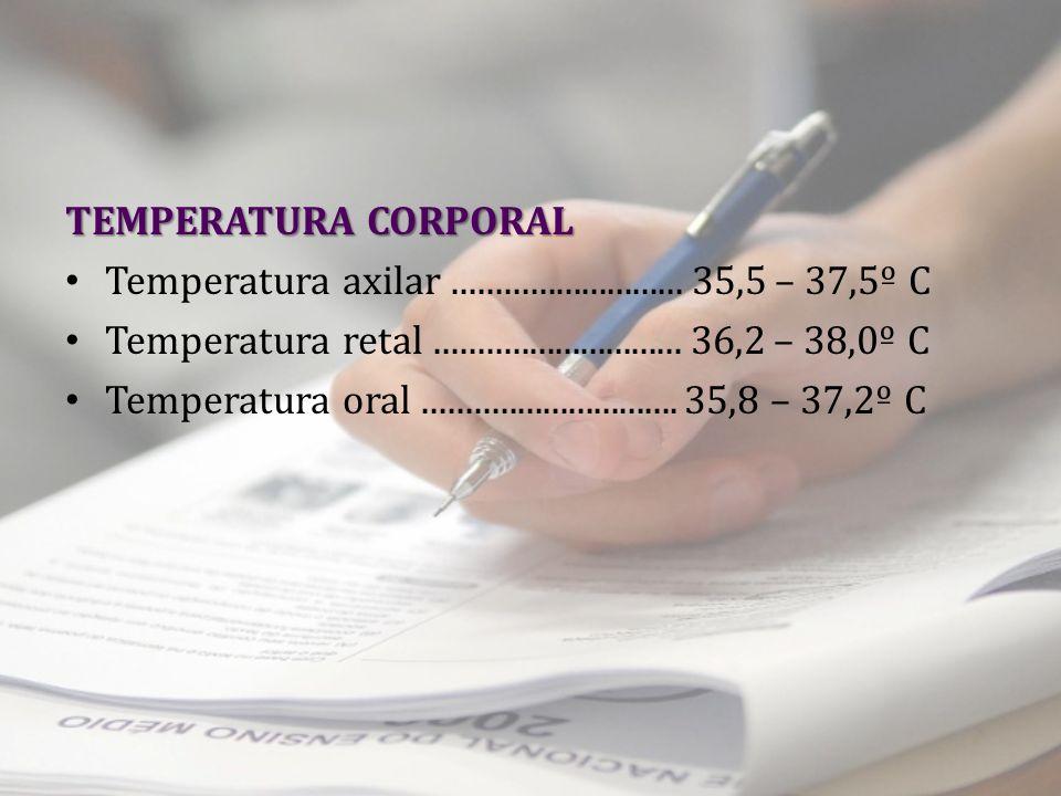 TEMPERATURA CORPORAL Temperatura axilar ........................... 35,5 – 37,5º C. Temperatura retal ............................. 36,2 – 38,0º C.