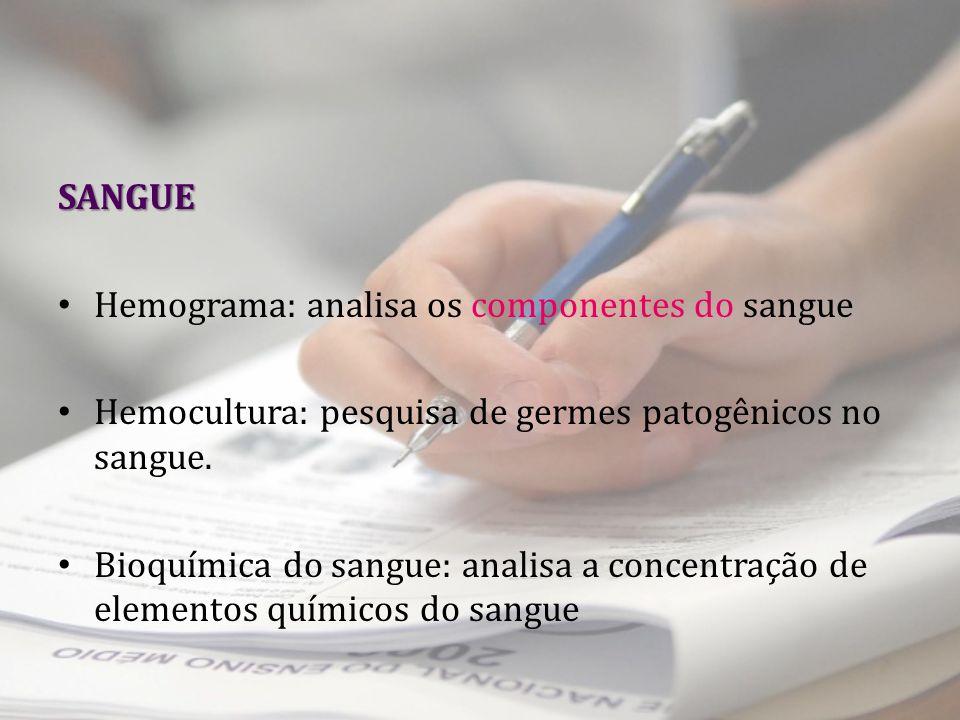 SANGUE Hemograma: analisa os componentes do sangue. Hemocultura: pesquisa de germes patogênicos no sangue.
