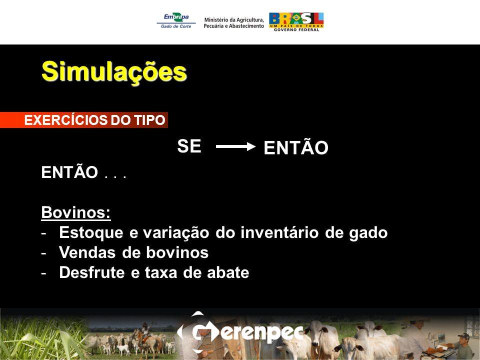 Simulações SE ENTÃO ENTÃO . . . Bovinos:
