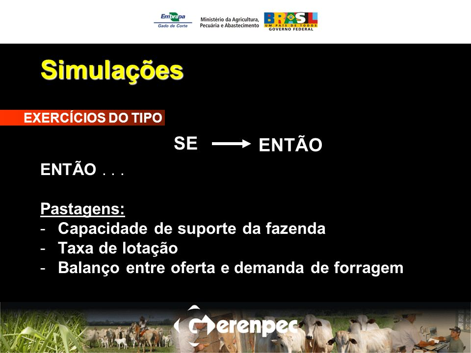 Simulações SE ENTÃO ENTÃO . . . Pastagens: