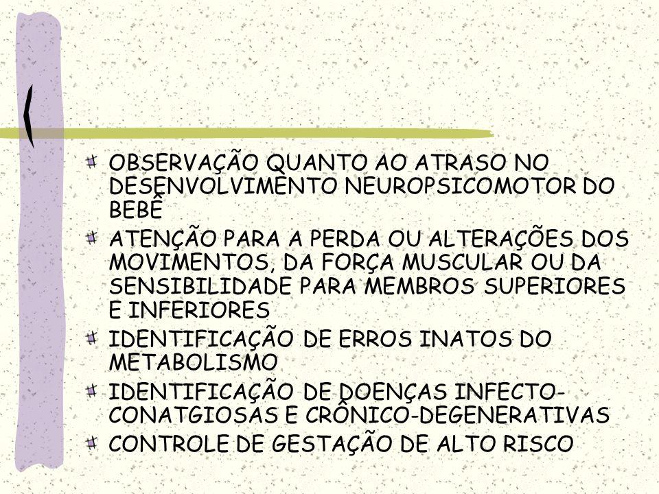 OBSERVAÇÃO QUANTO AO ATRASO NO DESENVOLVIMENTO NEUROPSICOMOTOR DO BEBÊ