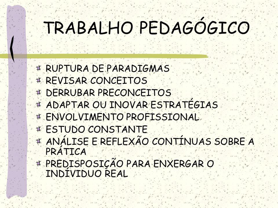 TRABALHO PEDAGÓGICO RUPTURA DE PARADIGMAS REVISAR CONCEITOS