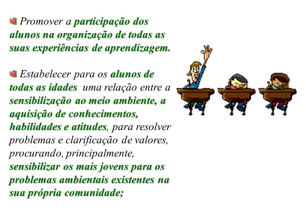 Promover a participação dos alunos na organização de todas as suas experiências de aprendizagem.