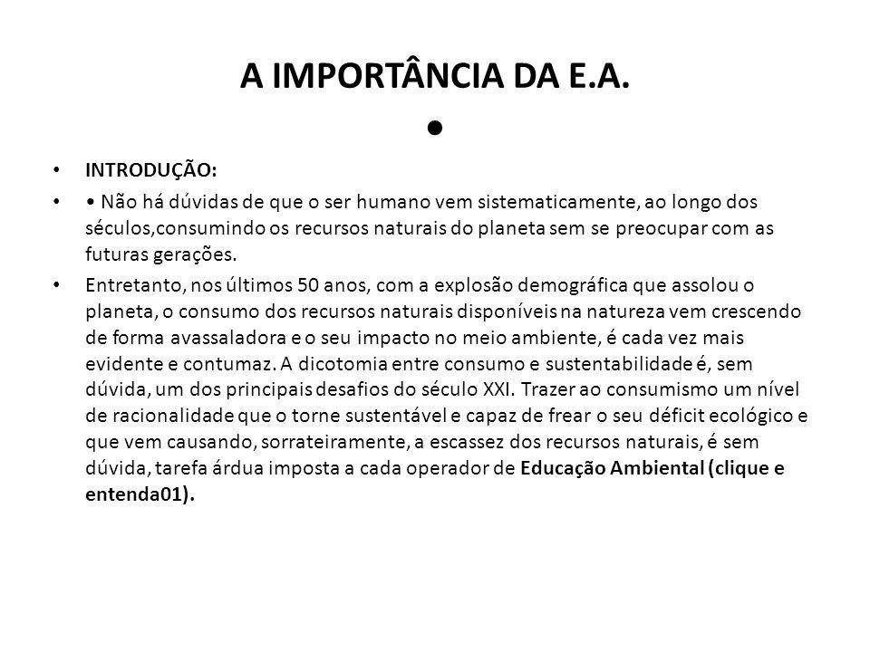 A IMPORTÂNCIA DA E.A. • INTRODUÇÃO: